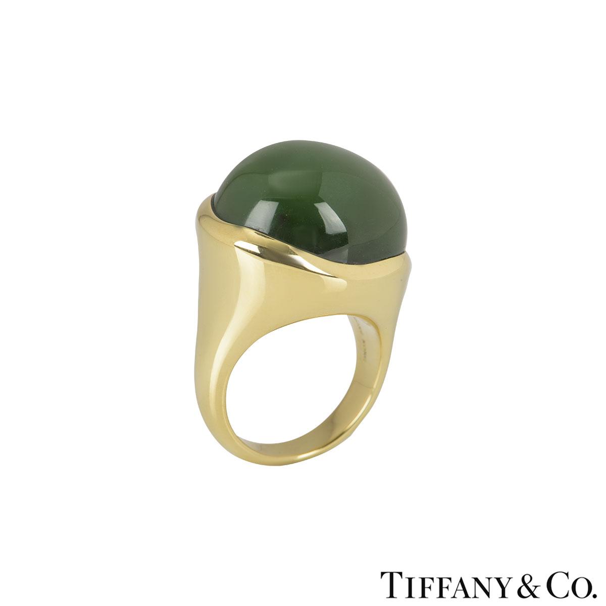Tiffany & Co. Yellow Gold Jade Elsa Peretti Ring